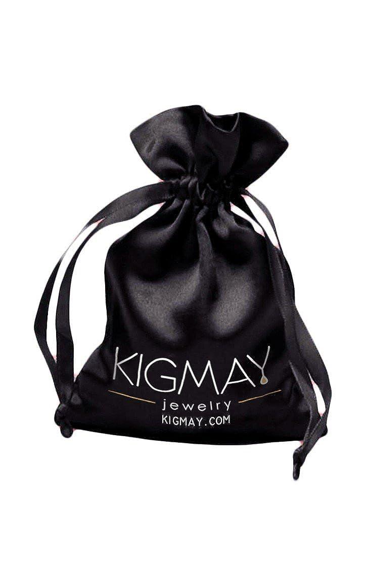 Kigmay Jewelry Gifts For Women Rhinestone Hamsa Hand Two Tone Metal Disc Stud Earrings