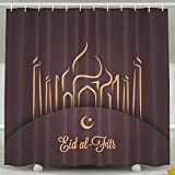 ZMLSJY Muslim Festival Shower Curtain Polyester Fabric Waterproof Curtain With Hooks For Bathroom