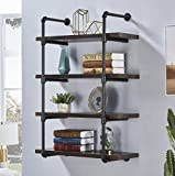 Cheap Homissue 4-Shelf Rustic Pipe Wall Shelves, 31.5-Inch Vintage Industrial Wall Shelf, Espresso-Brown