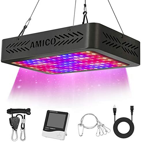 Amico 1200W LED Grow Light Indoor Plant Grow Lights Full Spectrum with UV IR for Veg and Flower with Thermometer Humidity Monitor and Adjustable Rope