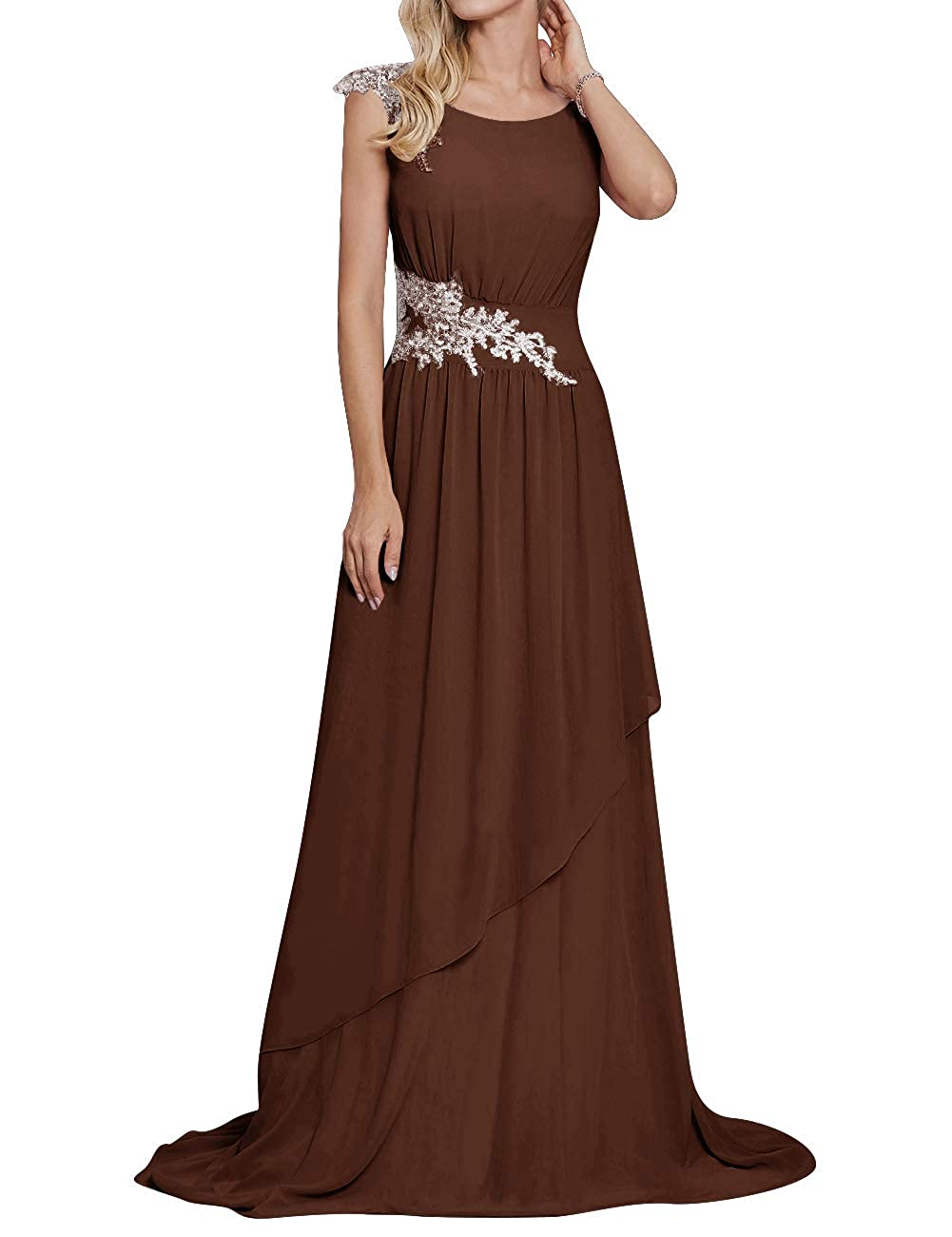 Chocolate Long Evening Party Dress Scoop Mother of The Bride Dresses Lace Appliques