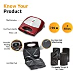 V-Guard VSX75 2 in 1 Grill and Triangle Sandwich Maker/Toaster with Changeable Plates (750 W, Candy Red)
