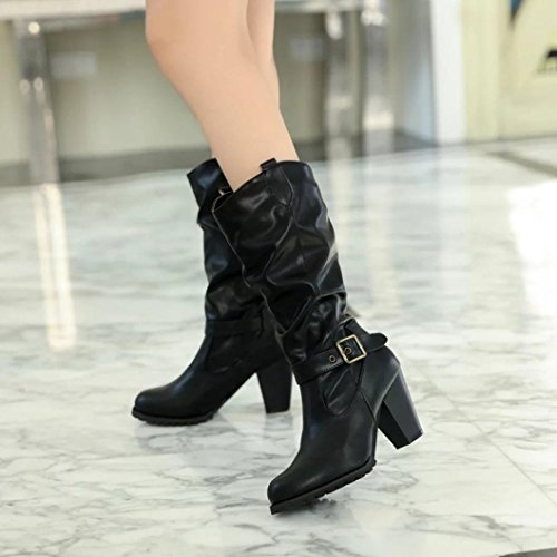 Womens Boots,Clode® Fashion Ladies PU Leather Buckle Retro Block Heel Mid Calf Winter Boots Stylish Casual Snow Boots Black