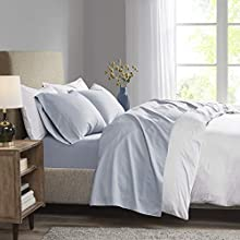 "Madison Park 3M Microcell Color Fast, Wrinkle and Stain Resistant, Soft Sheets with 16"" Deep Pocket All Season, Cozy Bedding-Set, Matching Pillow Case, Twin, Blue"