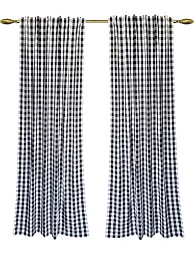 (Dining Room Curtains, Gingham Check Curtains, Rod Pocket Curtain, Window treatment, Décor panel, Check Curtains, Reverse Window Panels, Curtain Panels for Door- 50x96 Inch-Black White-Set of 2 Panels)