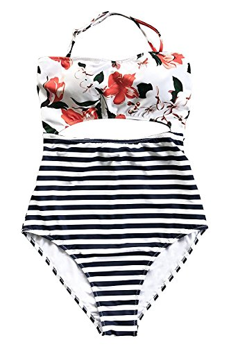 Sunm boutique Fashion Women's Leaves Printing Stripe Halter One-Piece Padding Swimsuit with Cutout (Cut Out Swimsuit Halter)