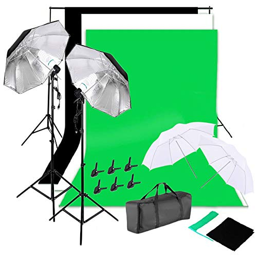 Teekland Photography Softbox Light Lighting Kit Photo Equipment Soft Studio 135W Silver Black Umbrellas with Background Stand Muslim Cloth (Black & White & Green) Set US Standard