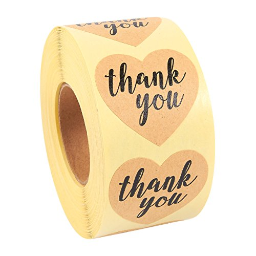 Pack of 500 Thank You Heart Sticker Labels - Heart Shape Adhesives - Value Pack, Kraft Brown, 1.5 x 1.4 Inches - Poly Paper Labels