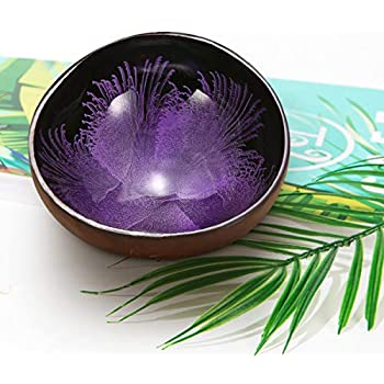 Essort Coconut Bowl, Natural Coconut Decorative Shell Handmade Unique Design for Party Home Kitchen Hotel Decoration Collection Wedding Birthday Gift Purple