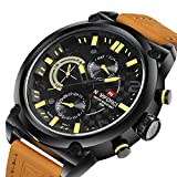 NAVIFORCE Luxury Brand Men Analog Watches Quartz 24 Hours Date Clock 3ATM Waterproof Leather Band Wrist Watch