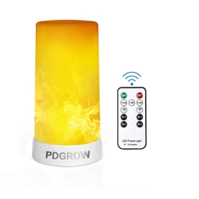 PDGROW LED Flame Effect Light with Wireless Remote Timer Rechargeable Flame Lamp Brightness Adjustable Indoor Outdoor 4 Light Modes Flame Light Decorative Light Night Light for Home Party Camping Bar: Home Improvement