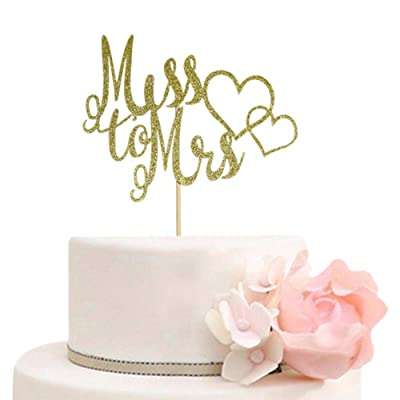 Miss to Mrs Cake Topper for Bridal Shower, Engagement, Wedding Party Decorations, Gold Glitter: Toys & Games