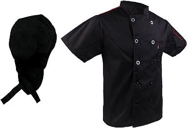D DOLITY Chaqueta de Chef Gorro Unisex Capa Camisa Cocina Uniforme Profesional Diseño Artefactos de Cocina - Negro, Única: Amazon.es: Ropa y accesorios