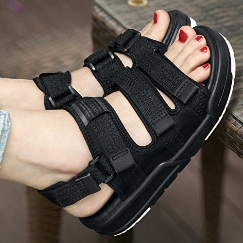 Xing Lin Ladies Sandals Sandals Student Shoes Lady Lovers Summer Casual Shoes Outdoor Beach Shoes, 41, Dark Black Surface