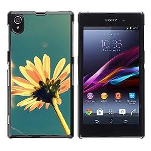 Sun Flower Estate Campo Giallo Blu - Metal de aluminio y de plástico duro Caja del teléfono - Negro - Sony Xperia Z1 L39