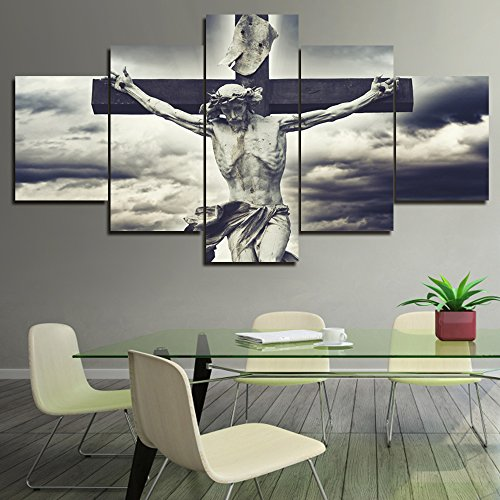 Jesus Christ Wall Cross - Wall Decor Christian Cross with Jesus Christ Statue over Stormy Clouds Pictures for Living Room HD Prints on Canvas Painting,5 Piece Artwork Giclee Framed Posters and Prints Ready to Hang(60''Wx32''H)
