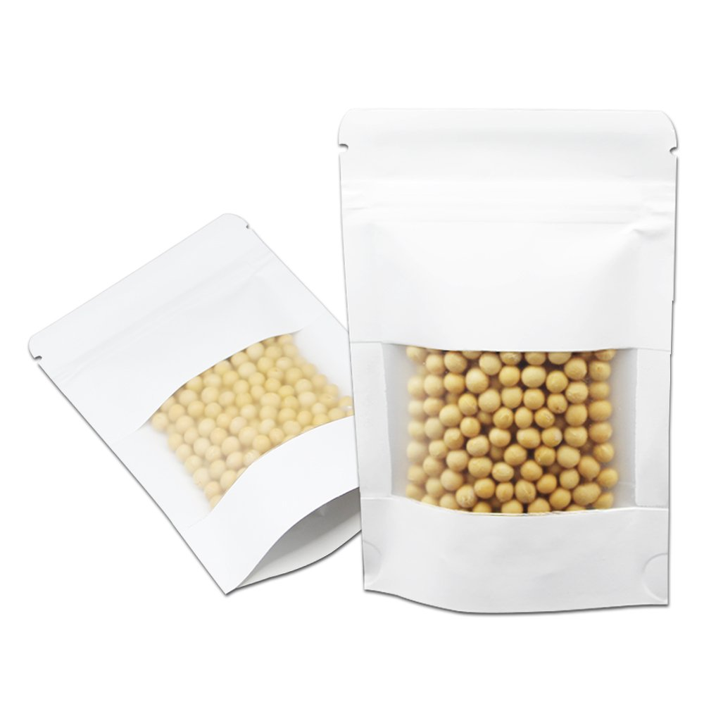 100 Pcs 10x15cm (3.9''x5.9'') White Stand Up Kraft Paper Bag with Clear Window Gusset Smell Leak Proof Nuts Bags Heat Sealable Grocery Bulk Food Storage Package Pouches Snack Safety Food Grade Tool Bags
