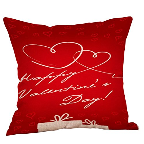 BCDshop Pillow Covers 18x18 Valentine's Day Pillowcase Covers Decorations Red Throw Pillow Case Sweet Love Square Cushion Cover (red d)