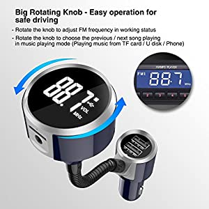 LDesign NEW V4.2 Bluetooth FM Transmitter, 6-in-1 Universal Wireless Radio Transmitter Adapter Car Kit with One Rotate Knob AUX Output 4 Music Play TF Card &SD Read 2 USB Charge Port for Audio Player