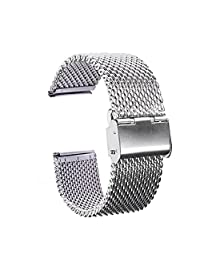 TFSeven 22mm Strap Bracelet Pin Buckle Silver Fashion DIY 304 Stainless Steel Mesh Watch Bands for Pebble Time Steel,Classic,ZenWatch,Samsung Gear 2 ,G Watch
