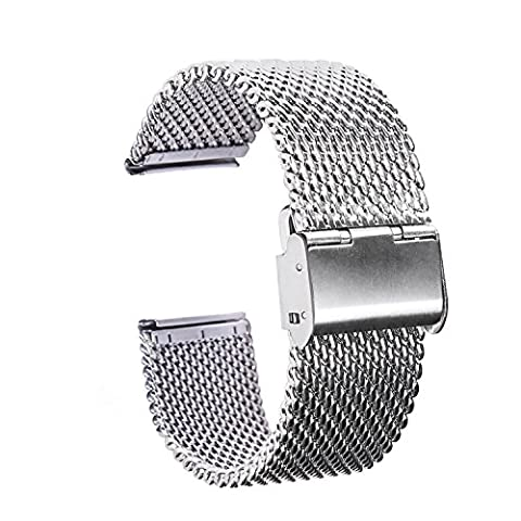 TFSeven 22mm Strap Bracelet Pin Buckle Silver Fashion DIY 304 Stainless Steel Mesh Watch Bands (22mm Mesh Watchband)