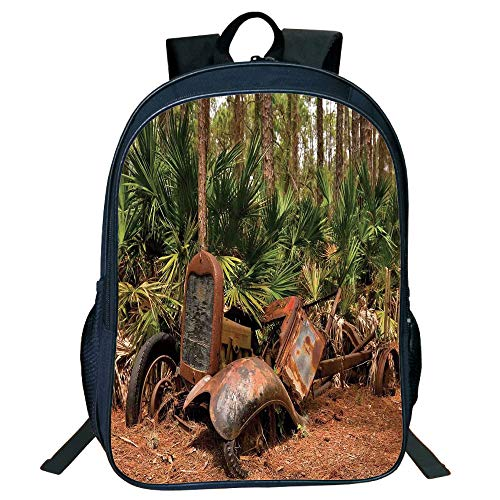 Personal Tailor Black Double-Deck Rucksackk,Rustic Home Decor,Rusty Tractor Mule Truck Deep in Forest with Tropical Palm Trees Image,Brown Green,for Kids,Diversified Design.15.7