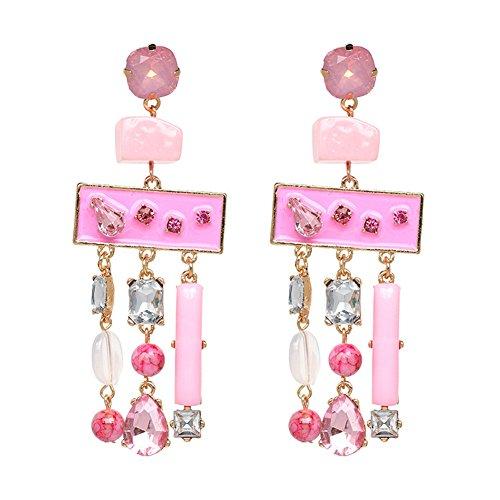 Lureme Bohemian Chandelier Crystal Stone Dangle Drop Tassel Earrings for Women (er006022-4)