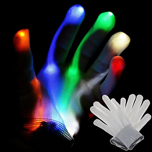 ABLEGRID Multi-Color Electro LED Flashing Gloves Light Up Halloween Dance Rave Party Fun