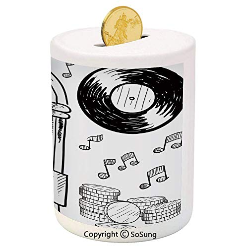 - SoSung Jukebox Ceramic Piggy Bank,Doodle Style Retro Music Box Notes Coins Long Play Vintage Sketchy Artwork 3D Printed Ceramic Coin Bank Money Box for Kids & Adults,Black and White
