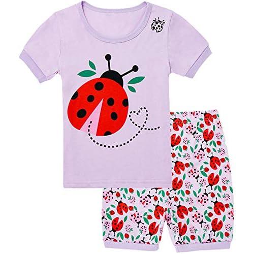 WWEXU Girls Pajamas Set 100/% Cotton Sleepwear Short Summer Pjs Elephant Kids Clothes Size 12M-12Year