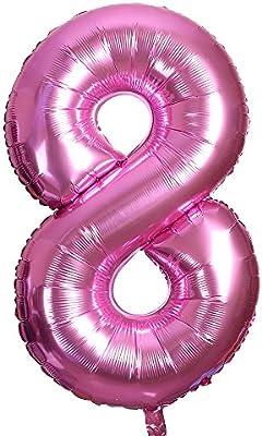 Smarcy Globos Número 8 Decoración de Cumpleaños 8 Años Fiesta de Cumpleaños (Rosado)