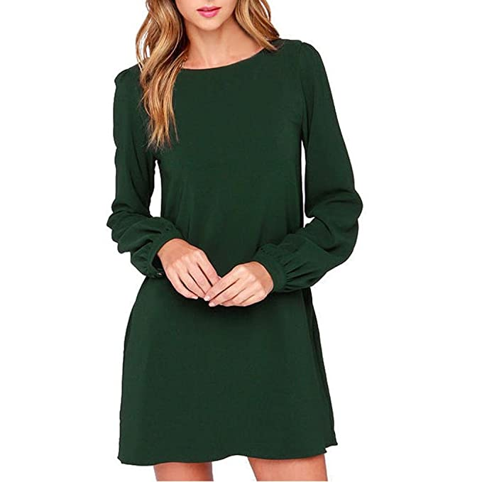 Hffan Damen Arbeit tragen Kleider Beiläufig Lange Ärmel Mini Kleid ...