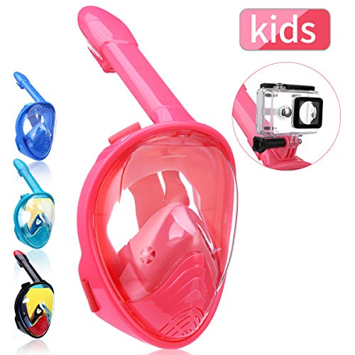 QingSong Full Face Snorkel Mask, Snorkeling Mask for Adults and Kids with Detachable Camera Mount, 180 Degree Large View Free Breath Dry Top Set Anti-Fog Anti-Leak Anti-UV
