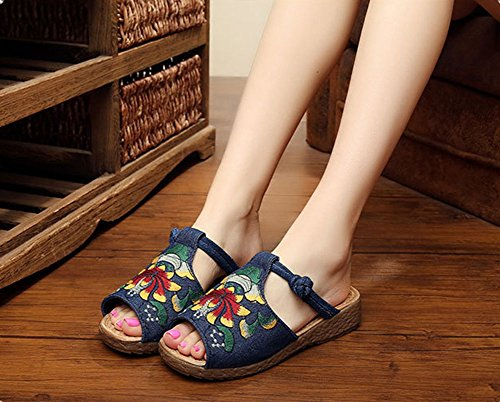 Slingback Shoes Print Ethnic MISSMAO Beach Sandals Flat Sandals Toe Summer Floral Blue Open Ladies 6TqqEWw4