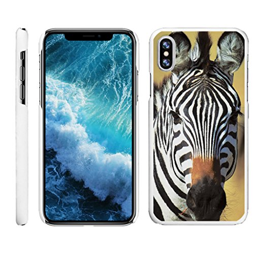 (TurtleArmor | Compatible for Apple iPhone X Case | Apple iPhone 10 Case [Slim Duo] Slim Compact Hard Clip On Case Grip Matte Cover on White Animal Design - Zebra )
