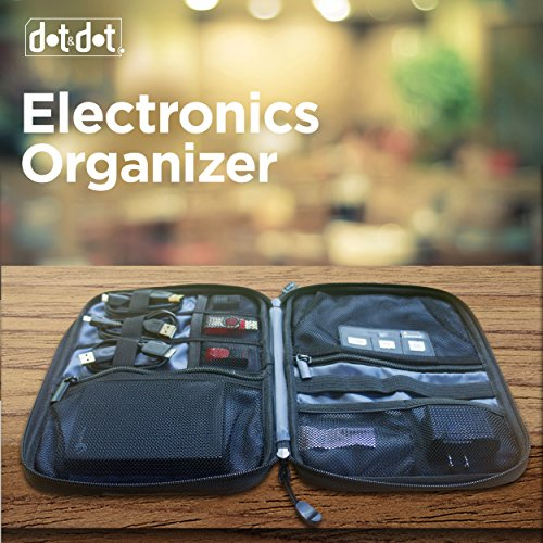 Smart Electronics Organizer Travel Case for Cable, Cord, Adapter, External Battery, Car Charger, Laptop Computer Accessories - Best Portable Gadget and Padded Tech Kit Bag with Zippered Pouch