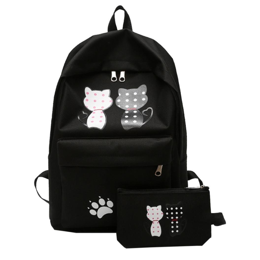 Chartsea Girl Student Nylon School Bag Backpack Travel Shoulder Bag+Clutch Wallet (Black)