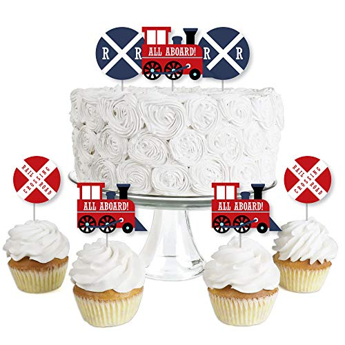 Railroad Party Crossing - Dessert Cupcake Toppers - Steam Train Birthday Party or Baby Shower Clear Treat Picks - Set of 24 ()