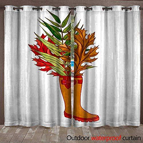 (BlountDecor Outdoor Blackout Curtain Leaves twig Pumpkin Lantern Waterproof CurtainW120 x L96)