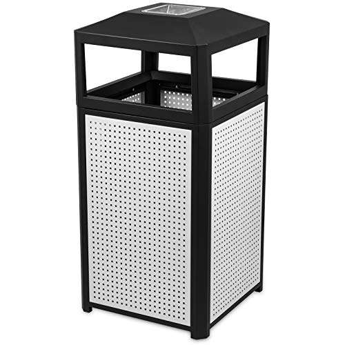 - BestEquip Trash Can 38 Gallon Indoor and Outdoor Trash Cans Commercial Steel Garbage Can with Ash Urn for Coffee Houses Campuses and Parks