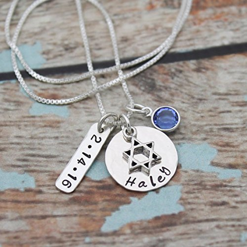 Hand Stamped Silver Jewelry - Bat Mitzvah Necklace with Date and Birthstone, Personalized Bat Mitzvah Necklace, Bat Mitzvah Gift, Hand Stamped Jewelry, Sterling Silver