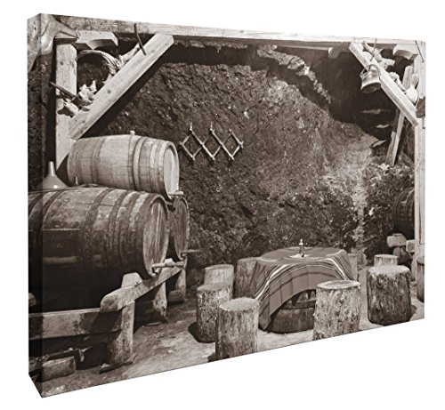 """JP London MCNV2219 Bootlegging Wine Cellar Black and White Bordeaux 2"""" Thick Heavyweight Gallery Wrap Canvas, 3' x 2'"""