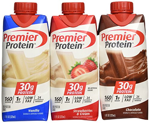 Lot of 12 Premier Protein 30g High Protein Shakes 11 Oz. Variety Pack Contains Chocolate, Vanilla and Strawberries & Cream