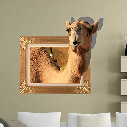 Ostrich Pattern Camel (Camel 3D Wall Decals Animal PAG STICKER Removable Wall Stickers Home Chameau Decor)