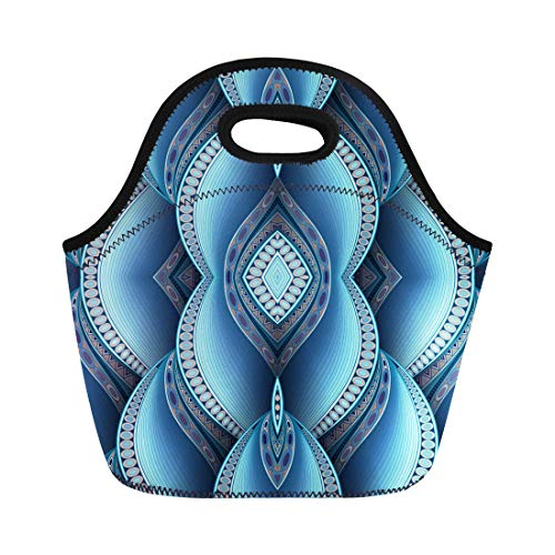 Semtomn Lunch Bags Blue Batik Abstract Tribal Pattern Waves Ethnic Flight Neoprene Lunch Bag Lunchbox Tote Bag Portable Picnic Bag Cooler Bag ()