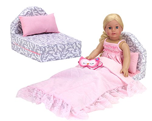 Sophia's Doll Clothes 18 Inch Doll Pull Out Doll Bed, Fold Up | Gray and White Couch with Pink Polka Dot Pillow for Girl Dolls | Perfect for American Dolls & More! (Life Doll Sofa My)