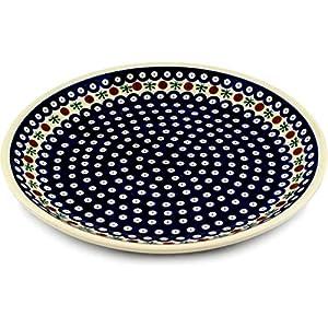 Polish Pottery Boleslawiec Platter, Round, 33cm in RED DOT pattern