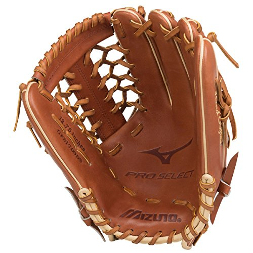 Mizuno GPS1-700DS Pro Select Outfield Baseball Glove, Size 12.75, Brown, Right Hand Throw (12.75in Glove Outfield)