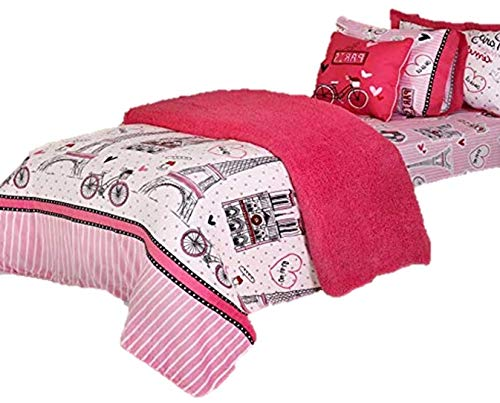 Limited Edition Paris Kids GirlsシックBlanket with Sherpa Very Softy and Warmツインサイズ1個   B076J4NTV5