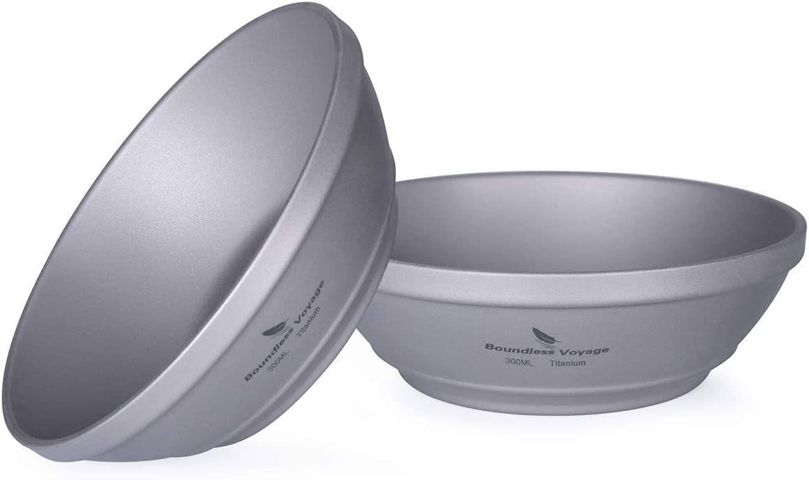 1x 300-600ml Titanium Deep Dish Bowl Outdoor Home Kitchen Cooked Food Supplies